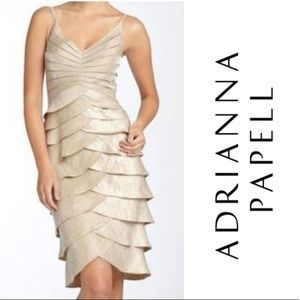Adrianna papell gold tiered cocktail party dress